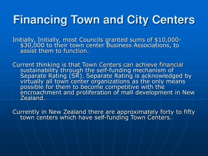 Financing Town and City Centers
