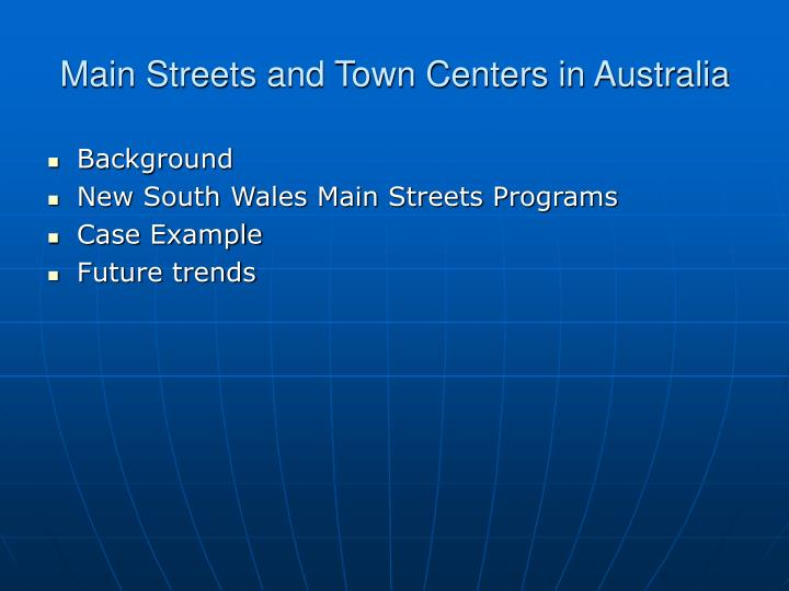 Main Streets and Town Centers in Australia