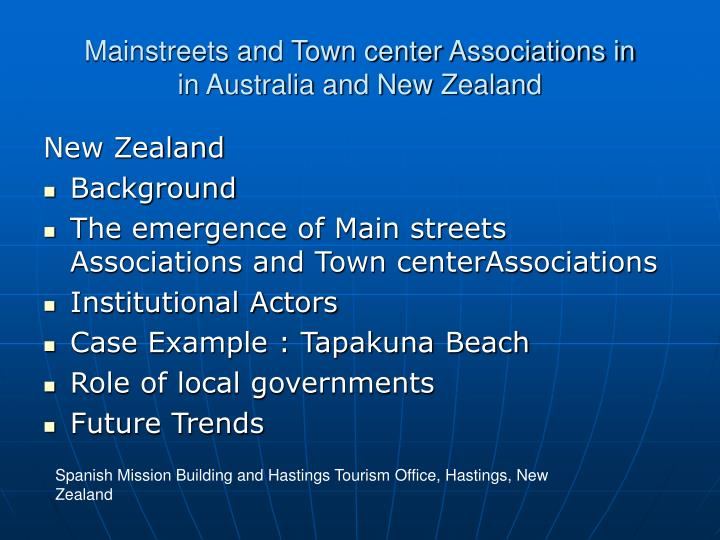 Mainstreets and town center associations in in australia and new zealand