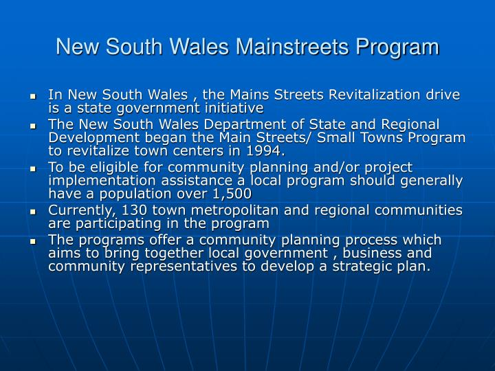New South Wales Mainstreets Program