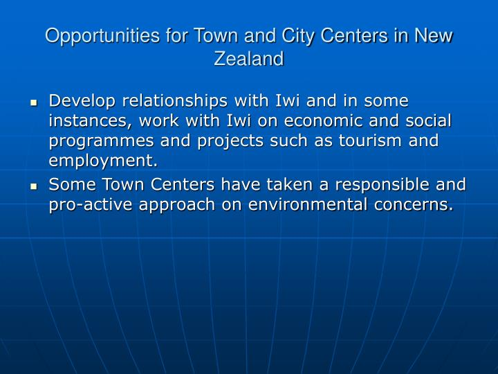 Opportunities for Town and City Centers in New