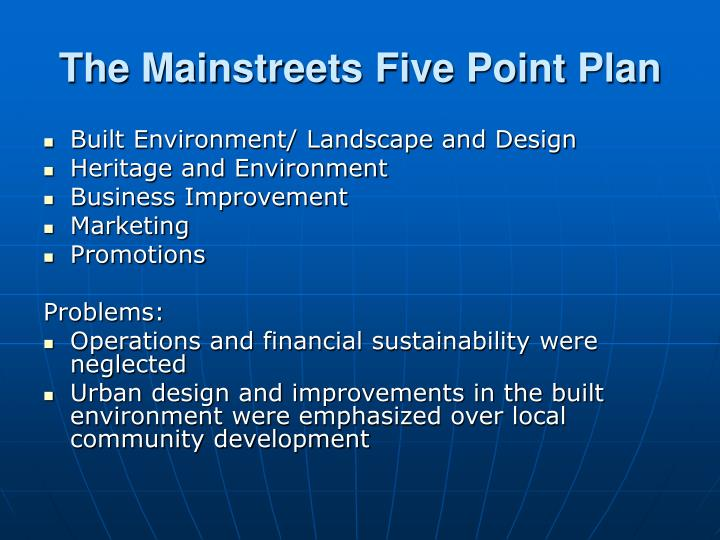 The mainstreets five point plan
