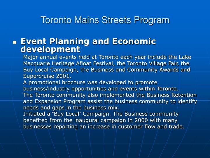 Toronto Mains Streets Program
