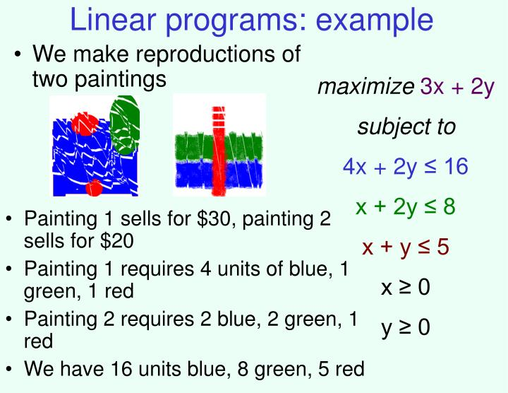 Linear programs: example