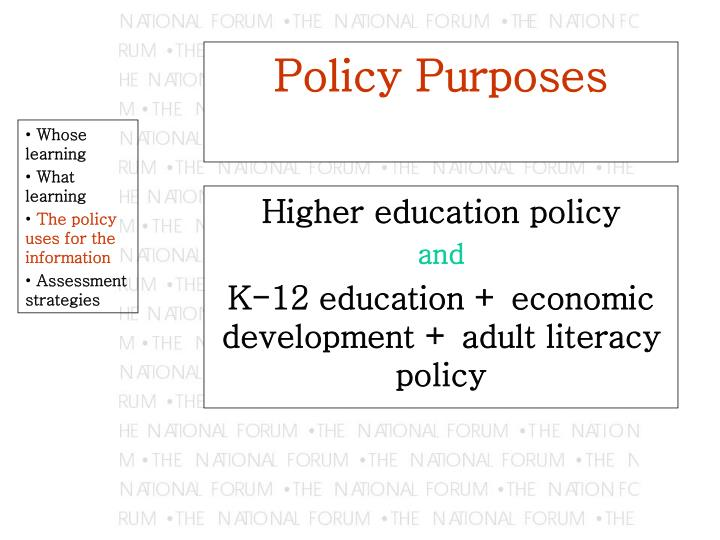 Policy Purposes