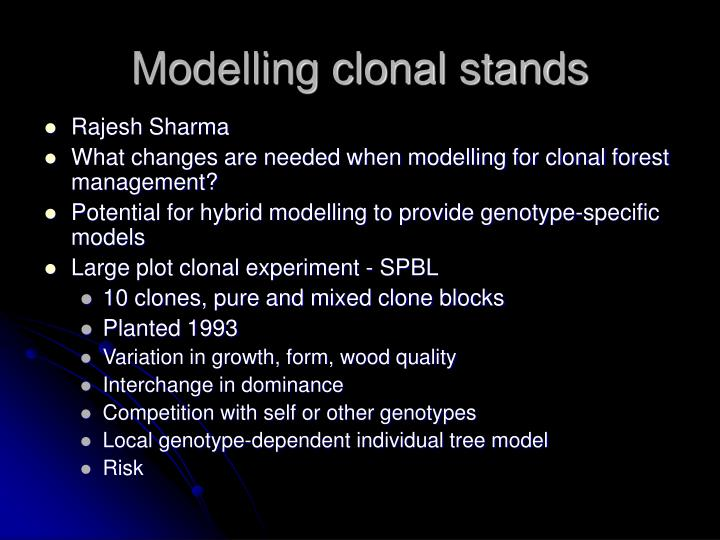 Modelling clonal stands