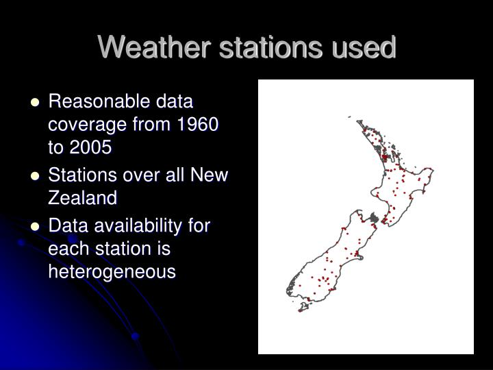 Weather stations used
