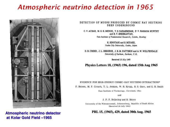 Atmospheric neutrino detection in 1965