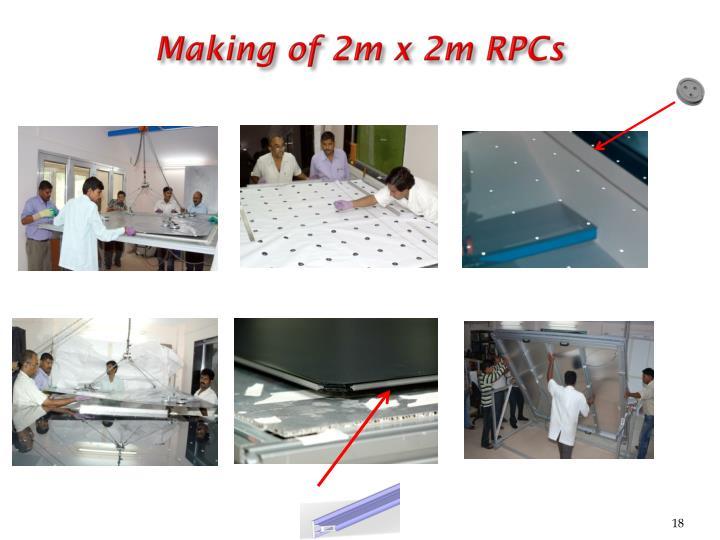 Making of 2m x 2m RPCs
