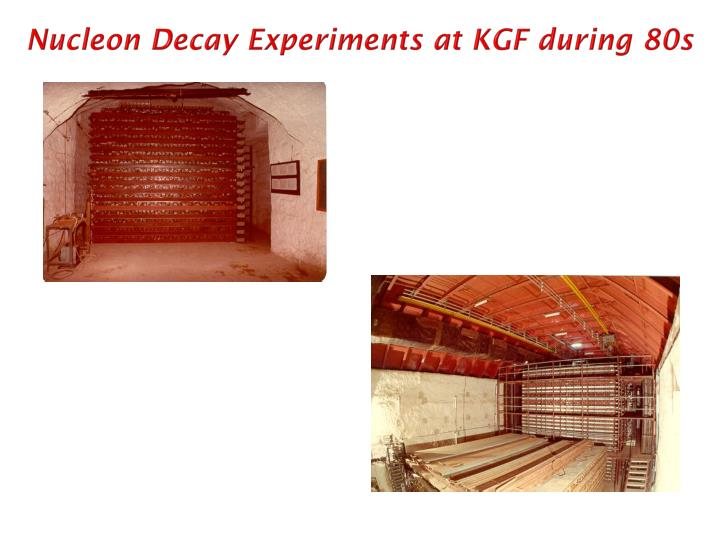 Nucleon Decay Experiments at KGF during 80s
