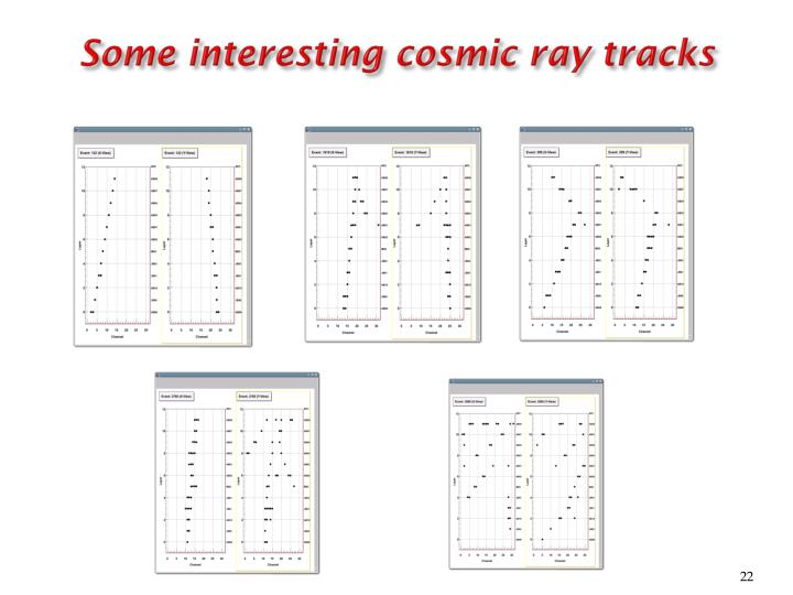 Some interesting cosmic ray tracks