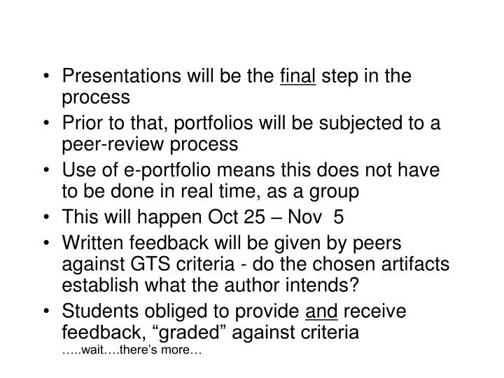 Presentations will be the