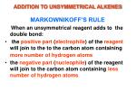 addition to unsymmetrical alkenes