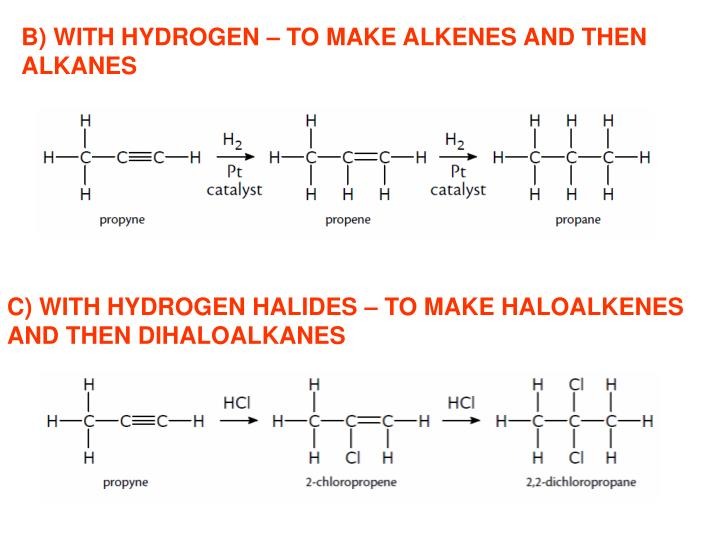 B) WITH HYDROGEN – TO MAKE ALKENES AND THEN
