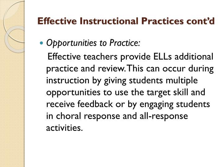 Effective Instructional Practices cont'd