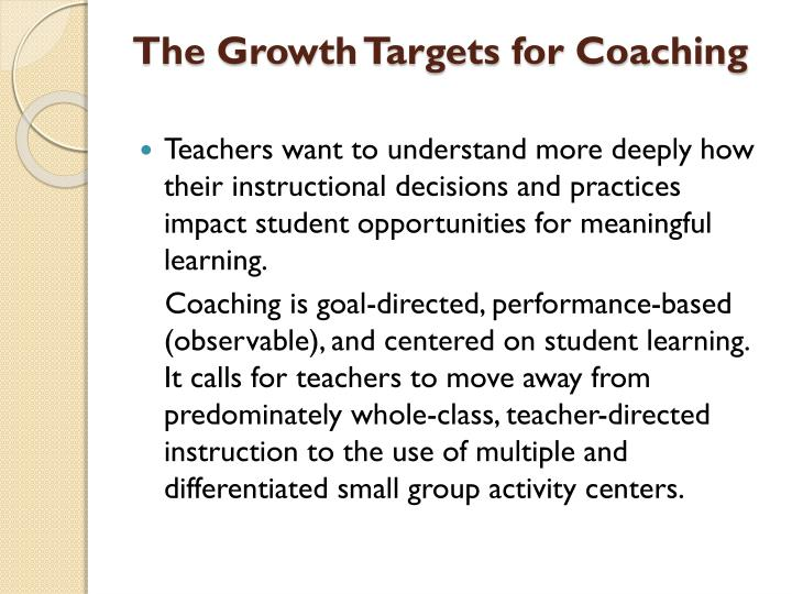 The Growth Targets for Coaching