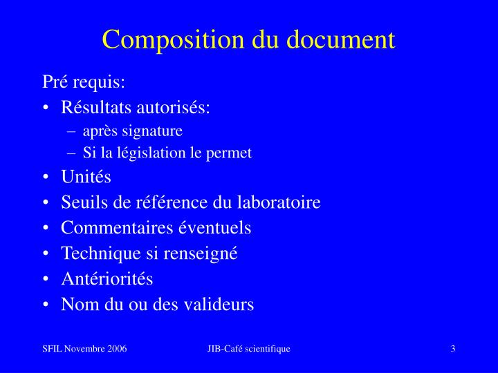 Composition du document