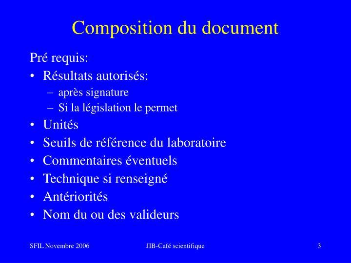 Composition du document