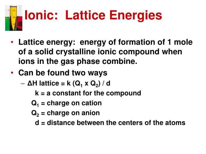Ionic:  Lattice Energies