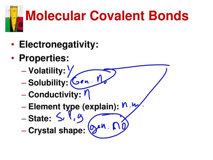 Molecular Covalent Bonds