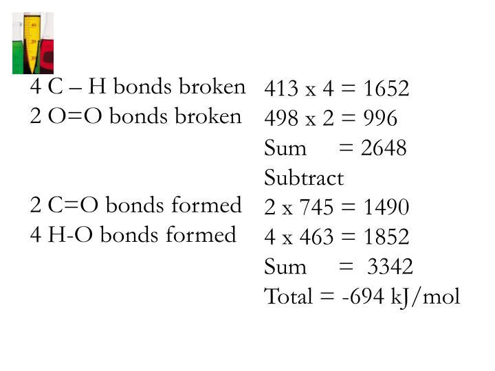4 C – H bonds broken