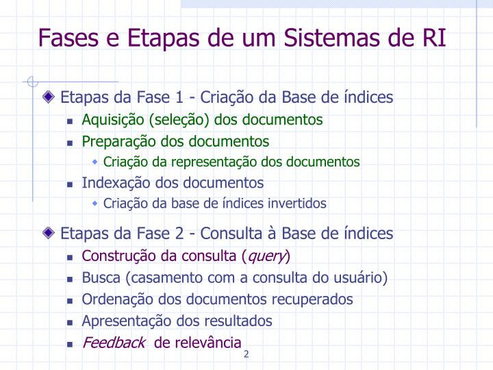 Fases e Etapas de um Sistemas de RI