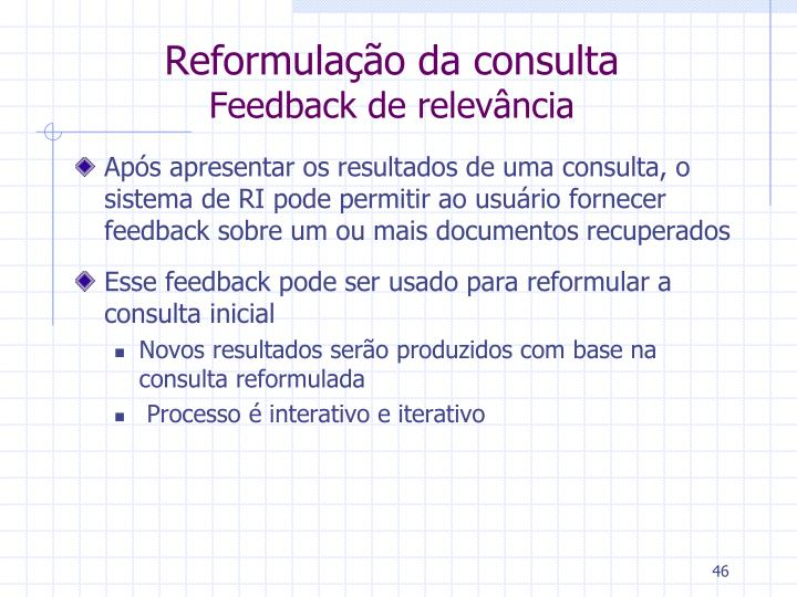 Reformulação da consulta