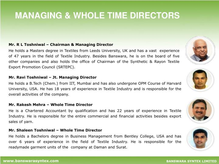 MANAGING & WHOLE TIME DIRECTORS