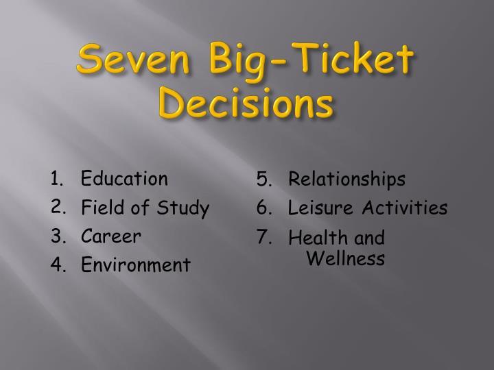 Seven Big-Ticket Decisions