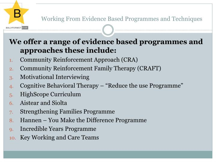 Working From Evidence Based Programmes and Techniques