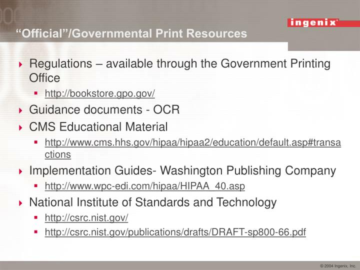 """Official""/Governmental Print Resources"