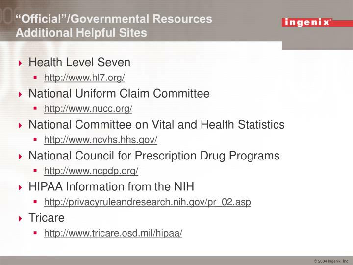 """Official""/Governmental Resources"
