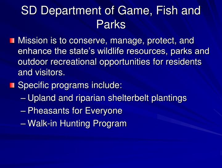 SD Department of Game, Fish and Parks