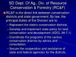 sd dept of ag div of resource conservation forestry rc f