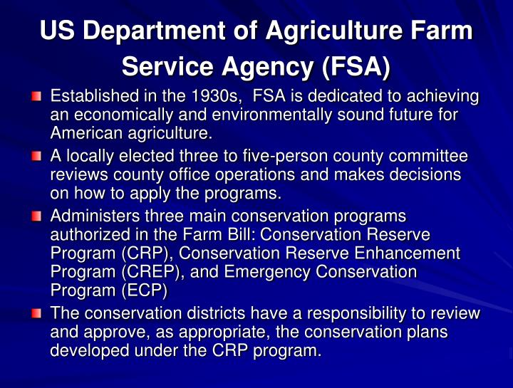 US Department of Agriculture Farm Service Agency (FSA)