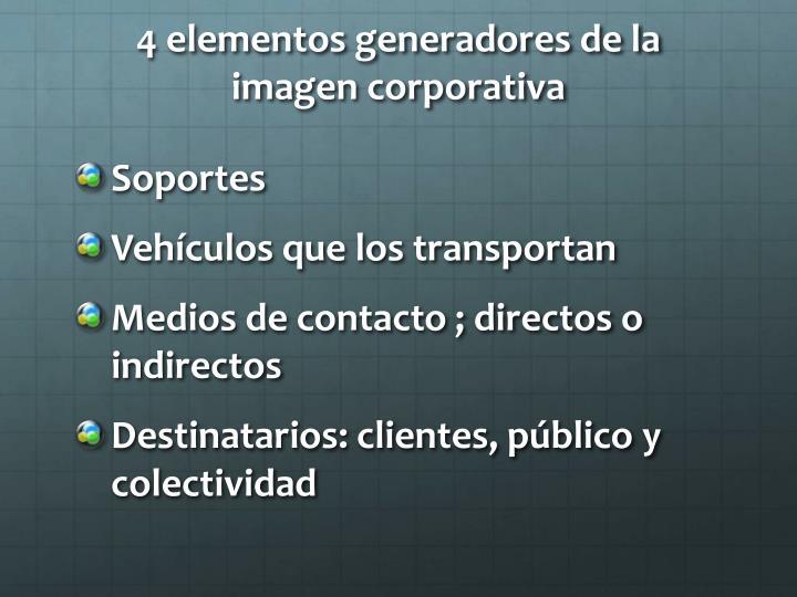4 elementos generadores de la imagen corporativa
