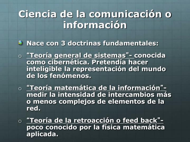 Ciencia de la comunicación o información