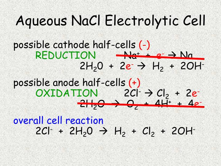 Aqueous NaCl Electrolytic Cell