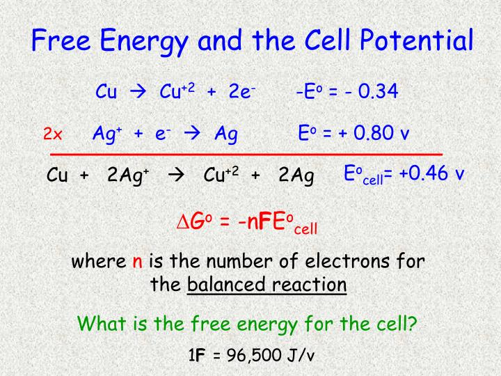 Free Energy and the Cell Potential