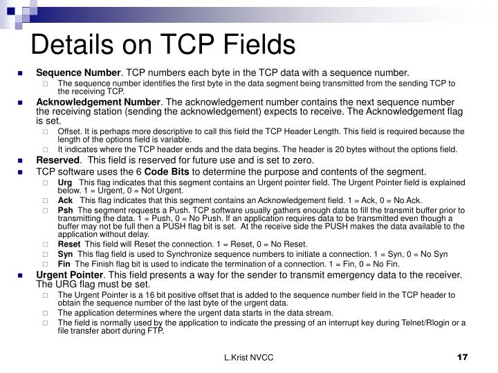Details on TCP Fields