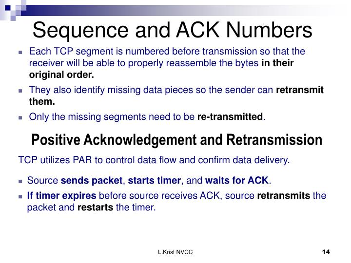 Sequence and ACK Numbers
