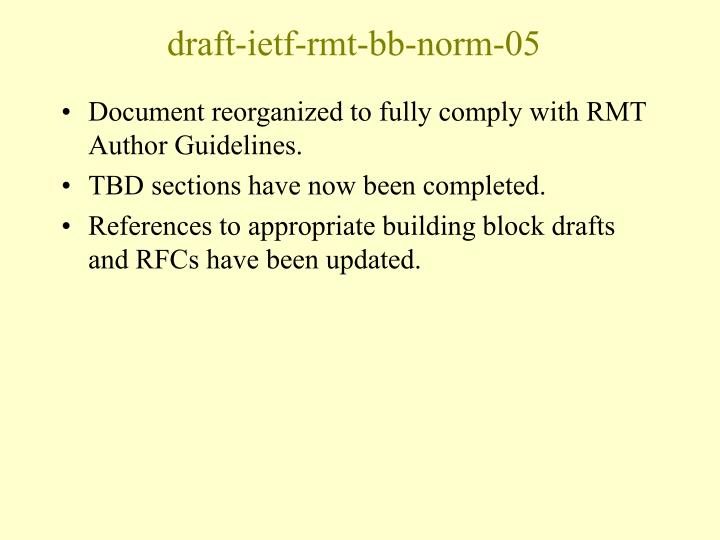 Draft ietf rmt bb norm 05