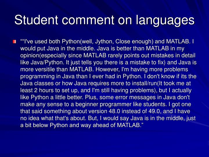Student comment on languages