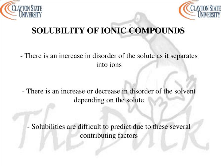 SOLUBILITY OF IONIC COMPOUNDS