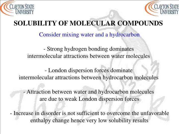 SOLUBILITY OF MOLECULAR COMPOUNDS