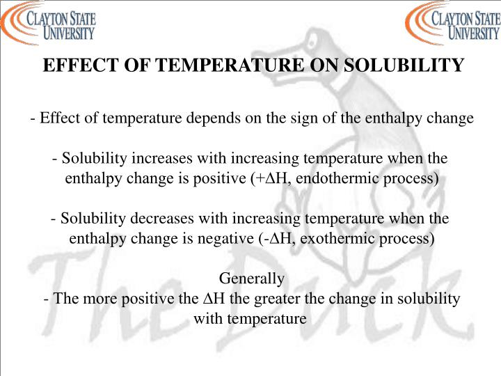 EFFECT OF TEMPERATURE ON SOLUBILITY