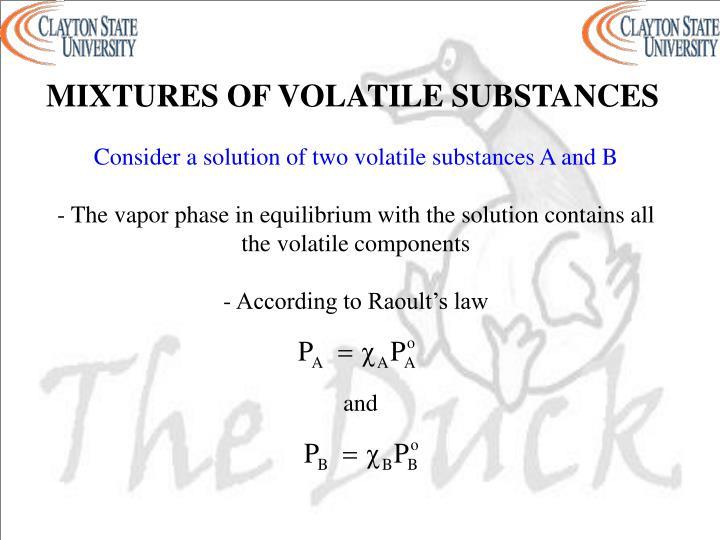 MIXTURES OF VOLATILE SUBSTANCES