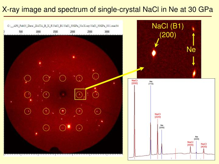 X-ray image and spectrum of single-crystal NaCl in Ne at 30 GPa