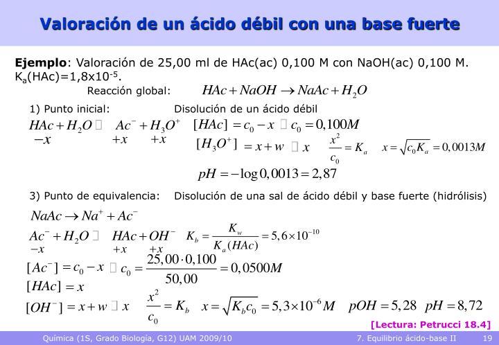 Valoración de un ácido débil con una base fuerte