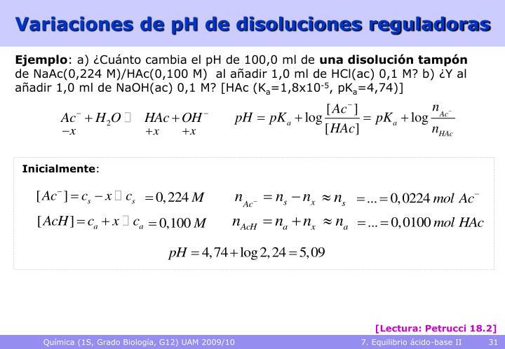 Variaciones de pH de disoluciones reguladoras